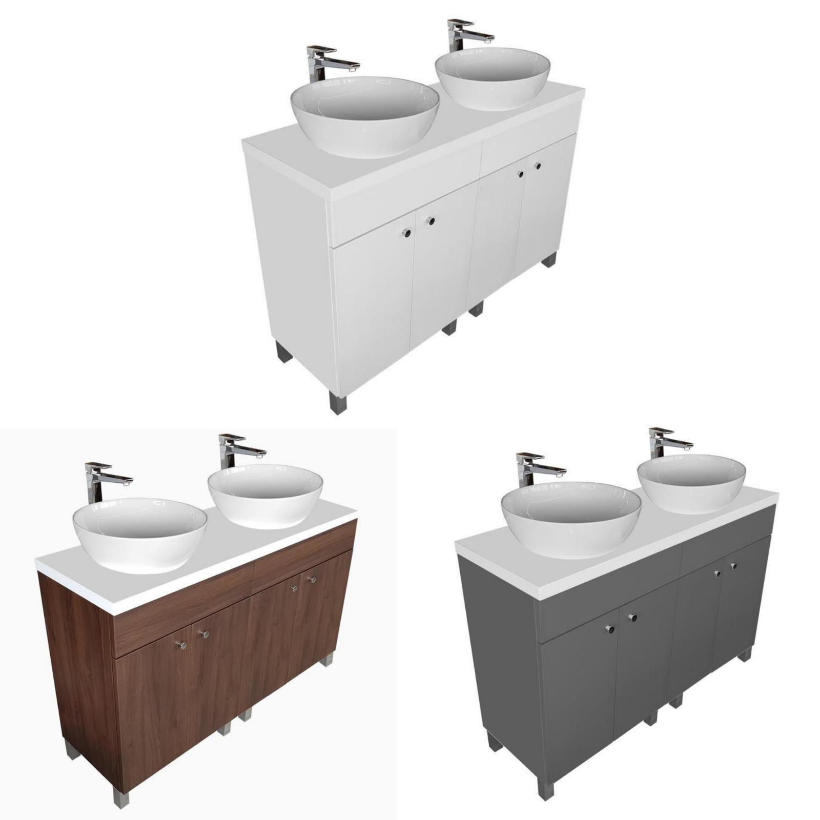 Doppelwaschtisch mit Waschtischplatte 120 und Zwei Aufsatzwaschbecken 40 oder 50