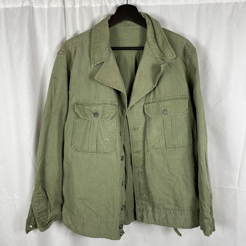 Original WWII US Army Hbt 1st Pattern Jacket Large