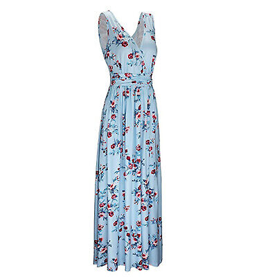 Women Sleeveless Floral Print V Neck High Low Summer Casual Long Maxi Dress New