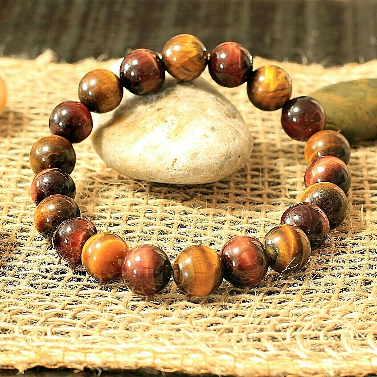 10 mm Red/Yellow Tiger Eye Beaded Healing Bracelet Men/Women Chakra Gem Stone