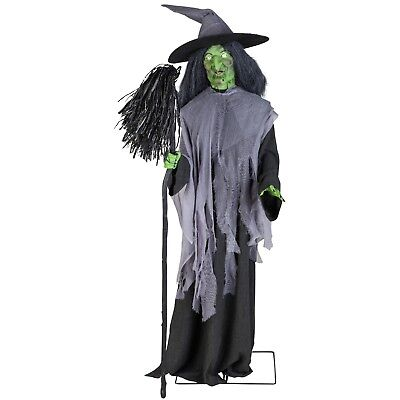 Witch Brooms (Halloween Gemmy 6 ft Animated Evil Witch with Broom Speaks Spooky Phrases)