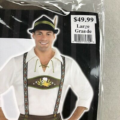 Mr. Oktoberfest Halloween Costume Men's Large Traditional German Lederhosen
