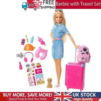 Barbie FWV25 Doll and Travel Set with Puppy Luggage 10+ Accessories Multicolour
