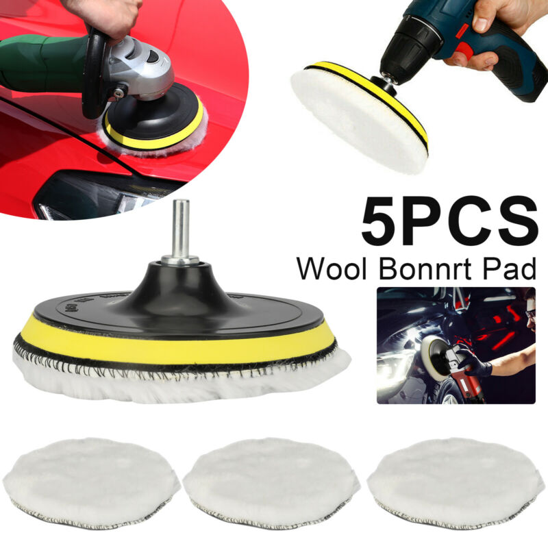 "5Pcs 6"" Buffing Polishing Pad Wool Wheel Mop Kit For Car Polisher Drill Adapter"