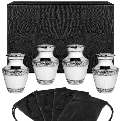 Everlasting Love White Small Keepsake Urns for Human Ashes - Set of 4 - w Case