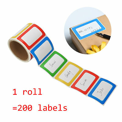 200 Labels Self-adhesive Colorful Name Tags Stickers Office Camp Party School