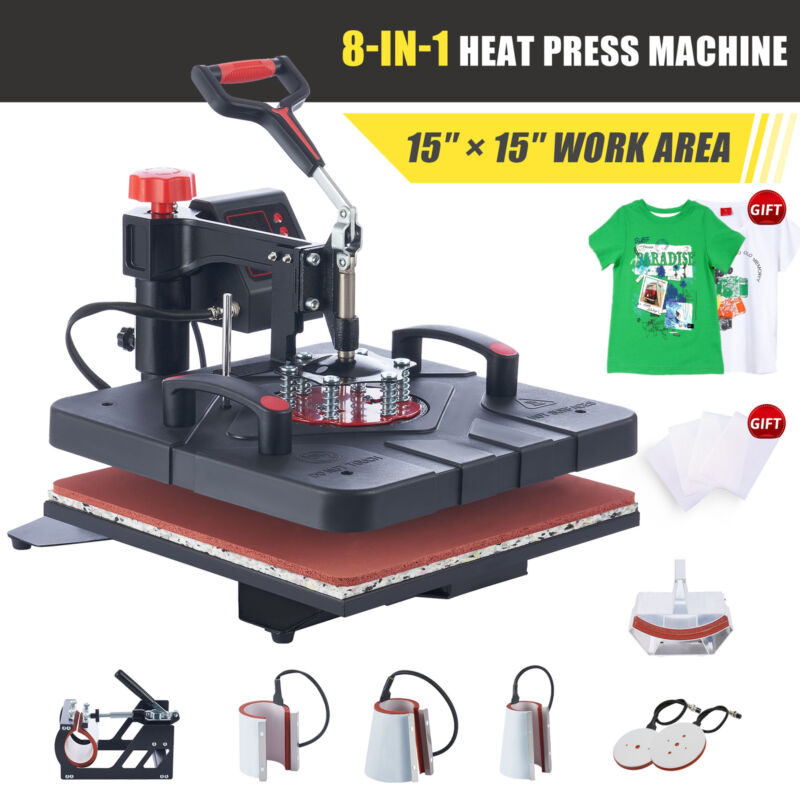 """15""""x15"""" Heat Press Machine 8in1 T Shirt Transfer 1000W Press with Slide Out Base"""