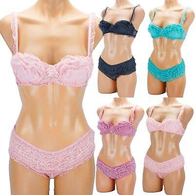 2pcs Women's Bra & Panty Set Ruffle Meshed Laced Bralette Boyshorts Pink Purple Lace Womens Boyshort Set
