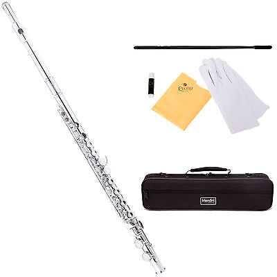 Mendini Nickel C Flute 16 Keys Close Hole, Offset G, Split E +CareKit+Case