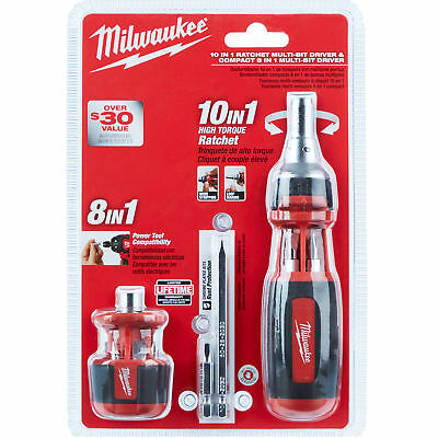 Milwaukee 48-22-2302c 10in1 Sq Drive Ratcheting Bit Driver W Stubby Driver New