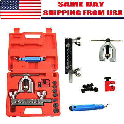 SAE / Metric Double Flaring Brake Line Tool Kit with Mini Pipe Cutter Car Truck