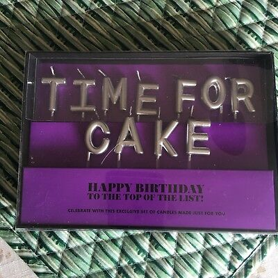 Chic Birthday Metallic Letter Candle Cake Topper silver Time for cake