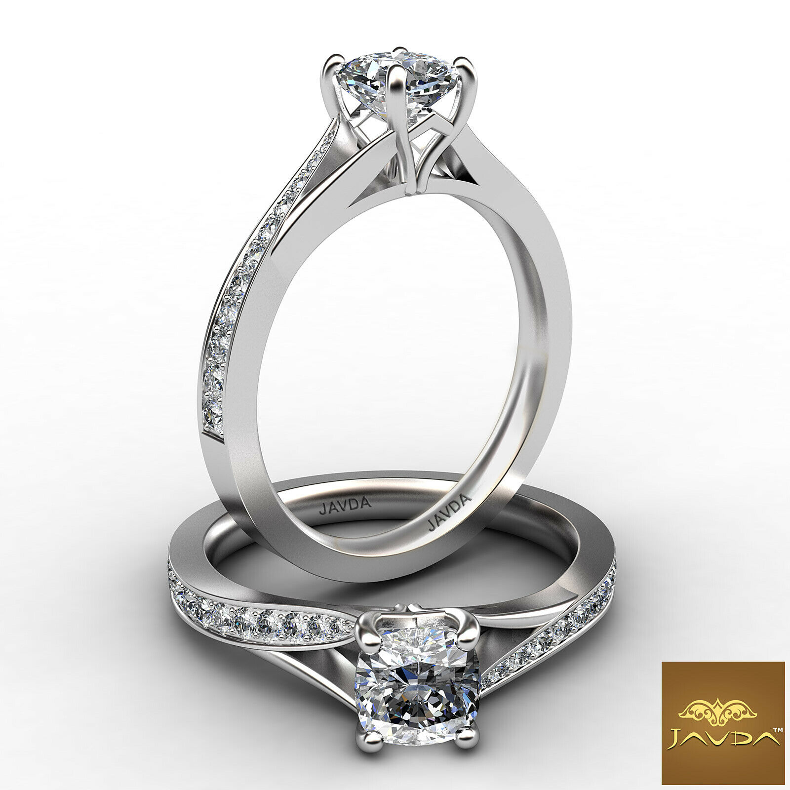 0.85ct Classic 4 Prong Side Stone Cushion Diamond Engagement Ring GIA F-VS1 Gold
