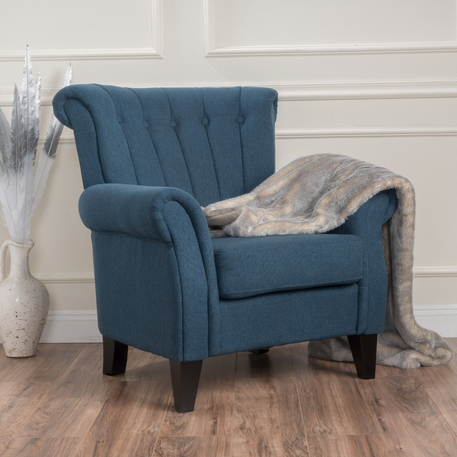 Romee Contemporary Channel Stitch Fabric Club Chair with Scrolled Arms Chairs