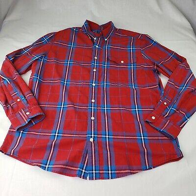 Gap Mens XL Slim Fit Button Up Plaid Long Sleeve Shirt Red Blue