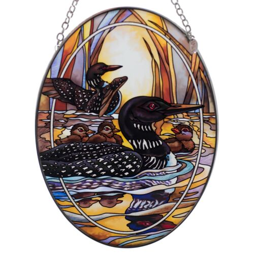 "Forever Wild Loons Suncatcher Hand Painted Glass By AMIA Studios 7"" x 5"""