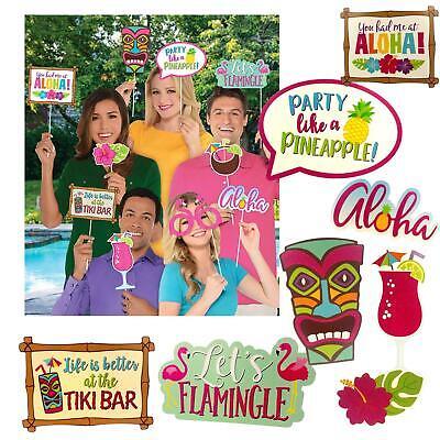 13 Hawaiian Flamingo Luau Beach Party Photo Props Tiki Bar BBQ Party Decorations
