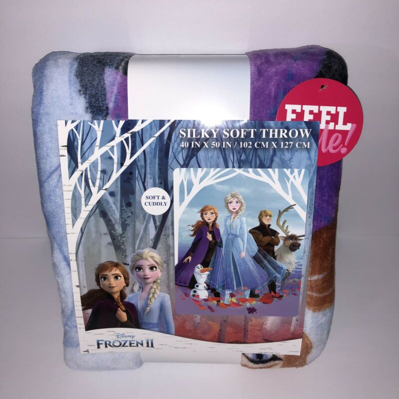 "NEW Disney Frozen II Silky Soft Throw Blanket 40"" x 50"" Anna Elsa Olaf Kristoff"