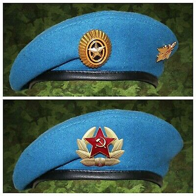 Original Russian Military VDV Airborne Para Blue 1 Beret + 3 badge Airborne Beret