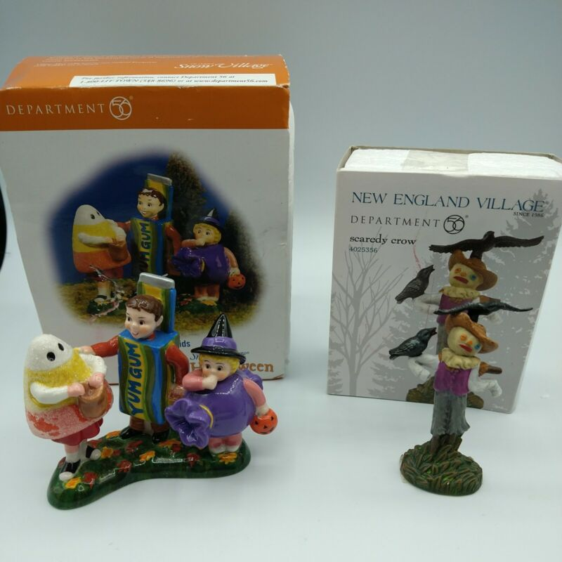 Department 56 Candy Kids #56.54713 2006 & Scaredy Crow #4025356 2012 Halloween