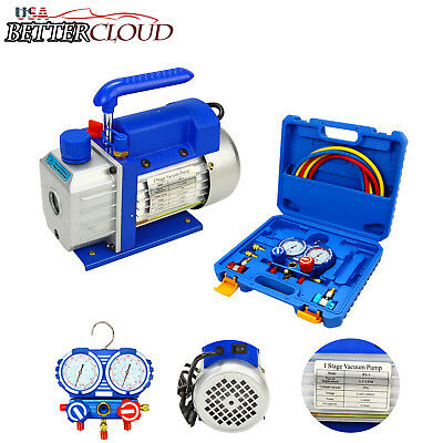Combo Air Vacuum Pump HVAC 3.5CFM 1/4HP & R134A AC A/C Manifold Gauge Set Kit