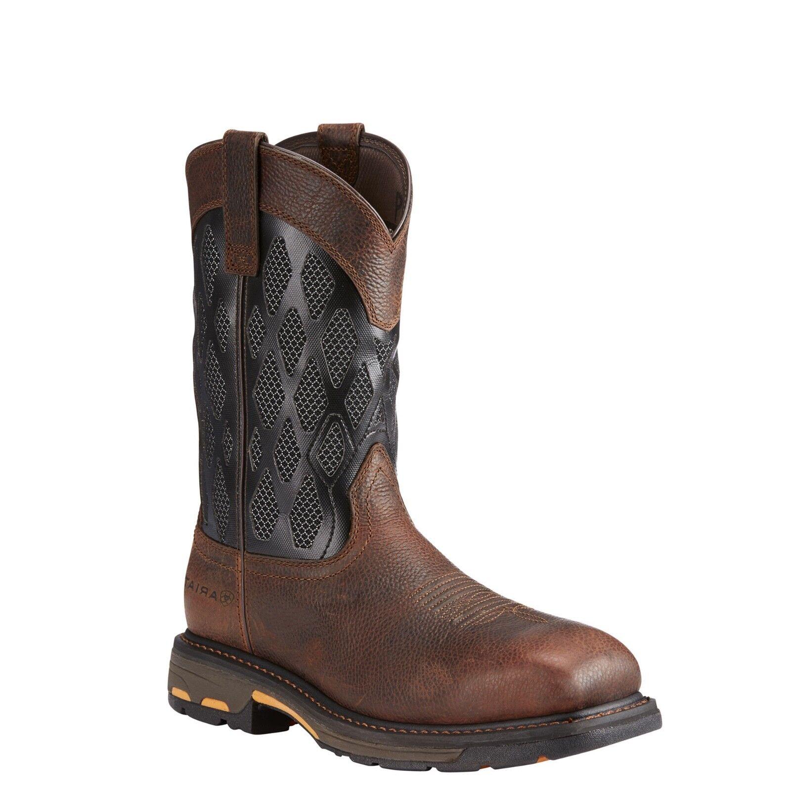 19770451e5d Ariat® Men's Workhog VentTek Matrix Brown & Black Work Boots 10023094