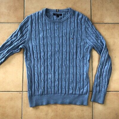Men's TOMMY HILFIGER New Light Blue Sweater Pullover Crew Neck Cotton Sz S