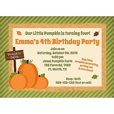 20 Personalized Birthday Invitations - Pumpkin Patch Birthday Party - Fall Party