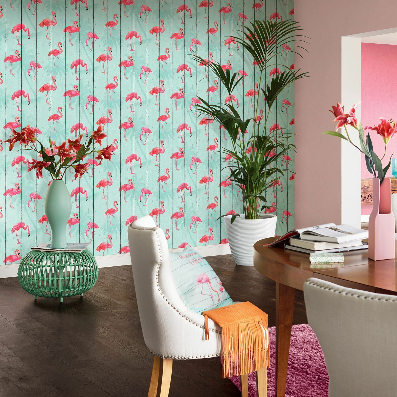 Rasch Flamingo Wood Panels Wallpaper