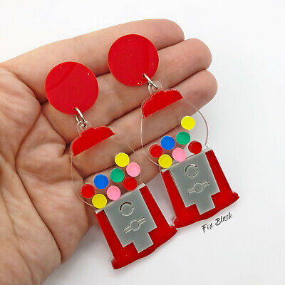 Gumball Machine Candy Sweets Laser Cut Acrylic Statement Earrings UK Quirky