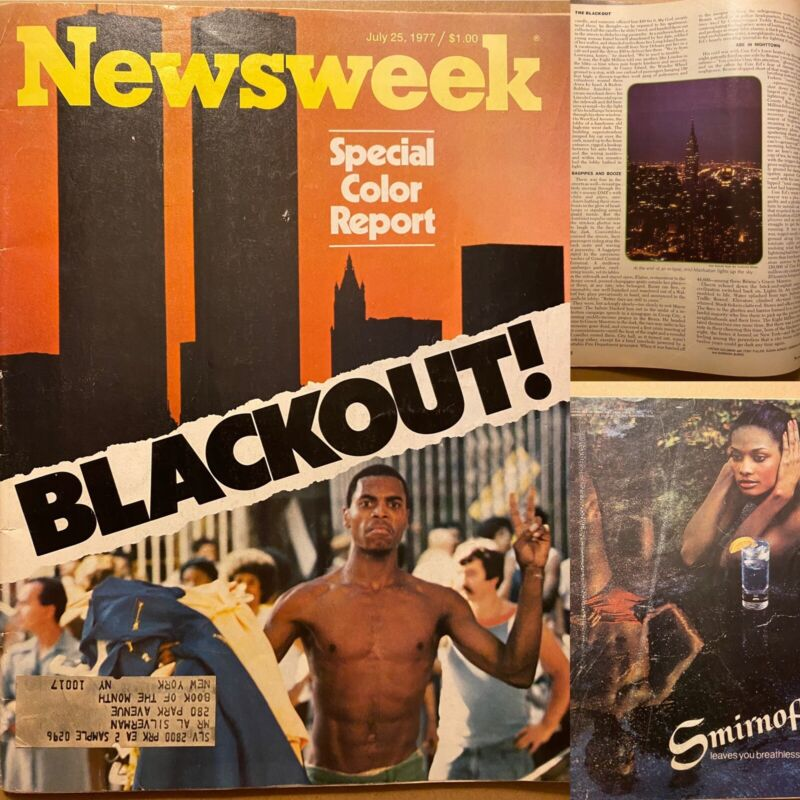 Rare Vintage July 25 1977 Newsweek Magazine Blackout Special Color Report VG