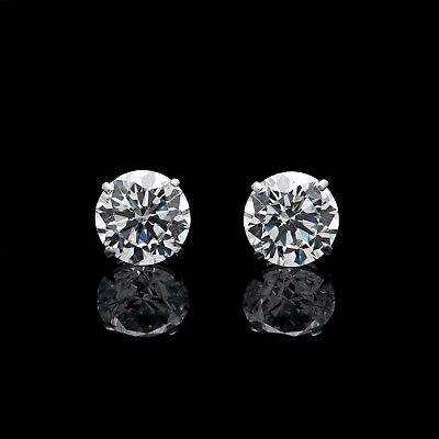 1.88Ct Created Diamond Earrings 14K Genuine White Gold Round Solitaire Studs