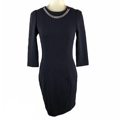 H&M Women's Size 6 Navy Chain Ponte Sheath Dress