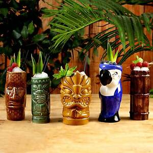 Ceramic Luau Tiki Party Pack - Set of 5 - Ceramic Cocktail Mugs