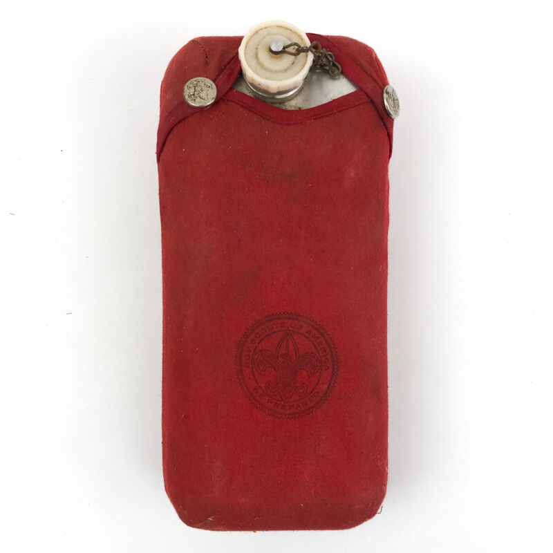 Vintage Boy Scouts of America Aluminum Water Canteen Regal with Red Cover