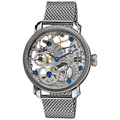 New Men's Akribos XXIV AK526SS Mechanical Skeleton Silver-tone Steel Mesh Watch