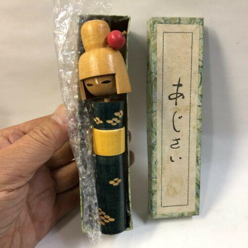 "14.8cm Rare Color(Dark Green)Girl Kokeshi ""AJISAI Hydrangea"" Japan No.HD1015"