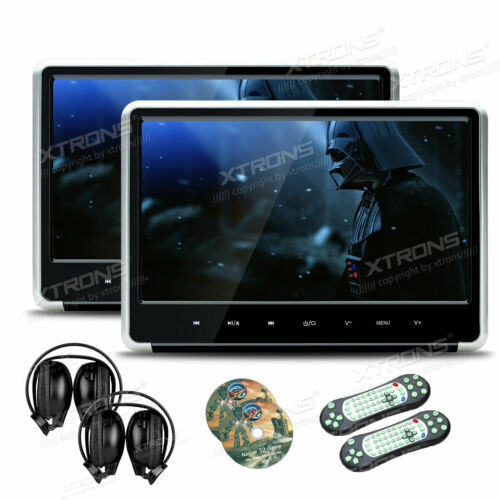 "2x 11.6"" HD 1920*1080 IPS Car Headrest Active Monitor DVD Player Game Headphones"