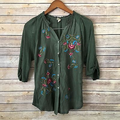 Tiny Anthropologie Olive Floral Embroidered  3 4 Sleeve Top Size S