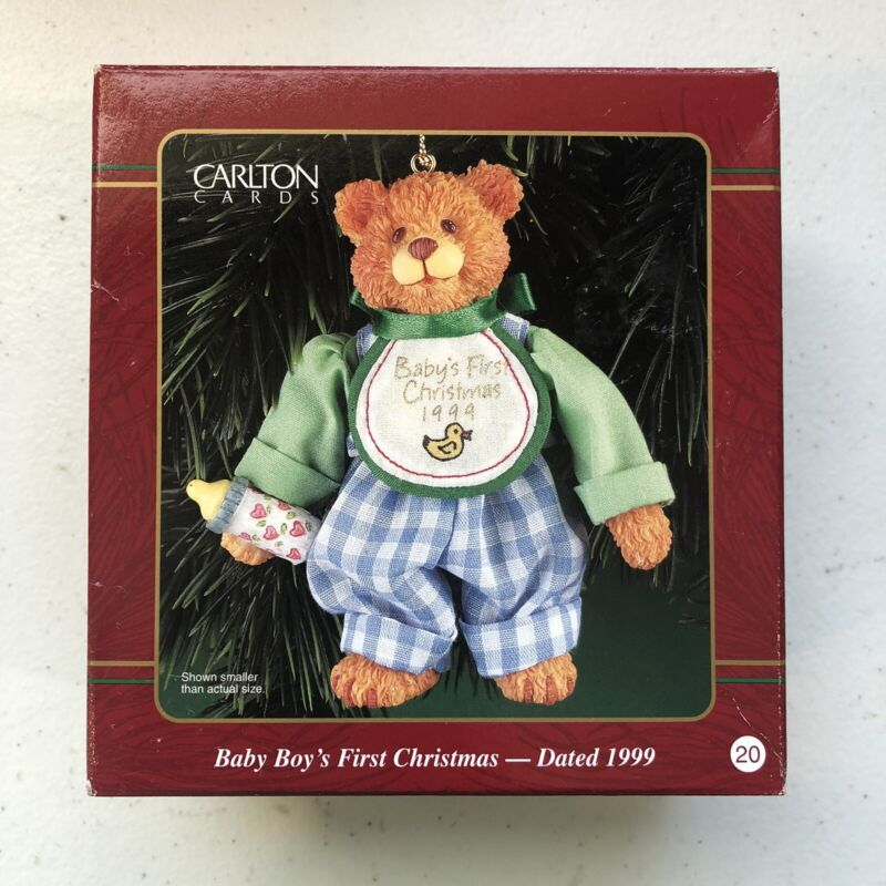 "VTG HEIRLOOM COLLECTION 1999 Baby Boy Teddy Bear First Christmas Ornament 4"""