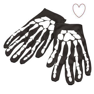 Erwachsene Kleid Halloween Kostüm Schädelknochen Schwarz Skelett 22CM - Erwachsenen Skelett Handschuhe
