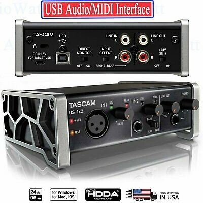 Tascam US-1x2 USB Audio/MIDI Interface with Microphone Pream