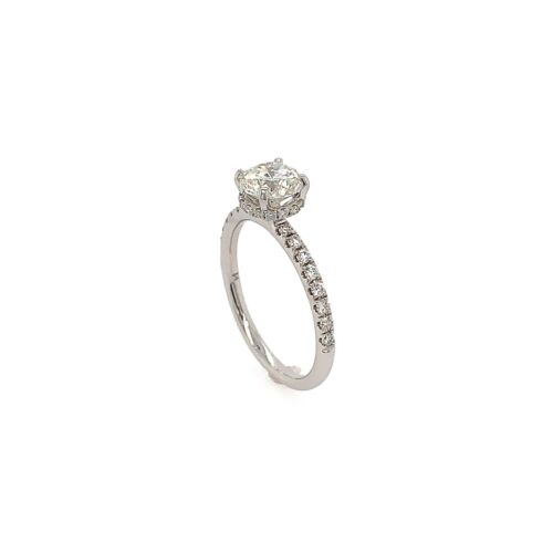 1.01 Carat Round Brilliant Cut J - SI2 GIA Diamond Halo Engagement Ring 18k Gold 1