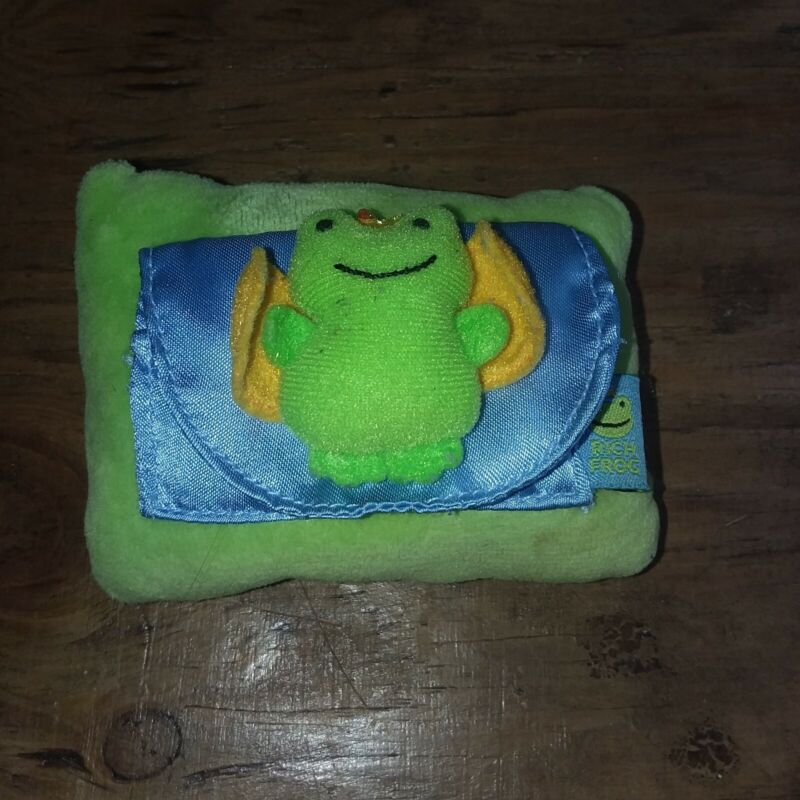 """Rich Frog Tooth Fairy Pillow with Pocket 4 1/2 """" inch Froggie Wings Pouch"""