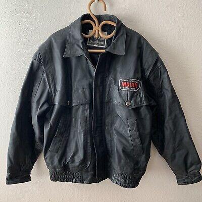 Vintage Indian Motorcycle Dealer Patch Leather Jacket L Royal Enfield Biker