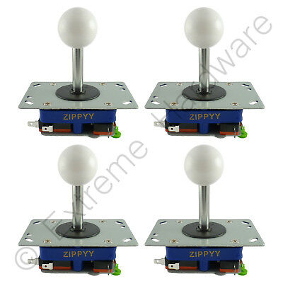 4X Zippyy Largo Eje Bola Superior Arcade Joysticks 2/4/8 Modos (Blanco) Jamma