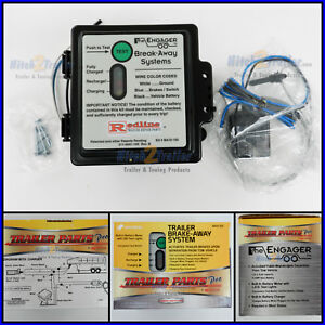 ENGAGER LED Trailer Electric Break Away Brake Kit 12V Battery Charger Breakaway