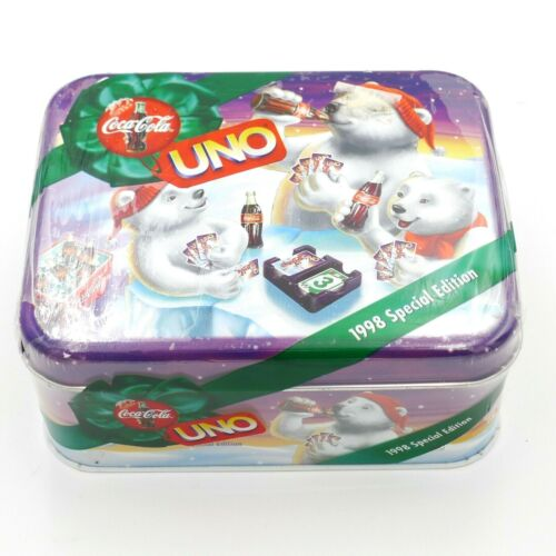 1998 COCA ~ COLA Special Edition UNO Card Game Bears Holiday Tin New Sealed Coke