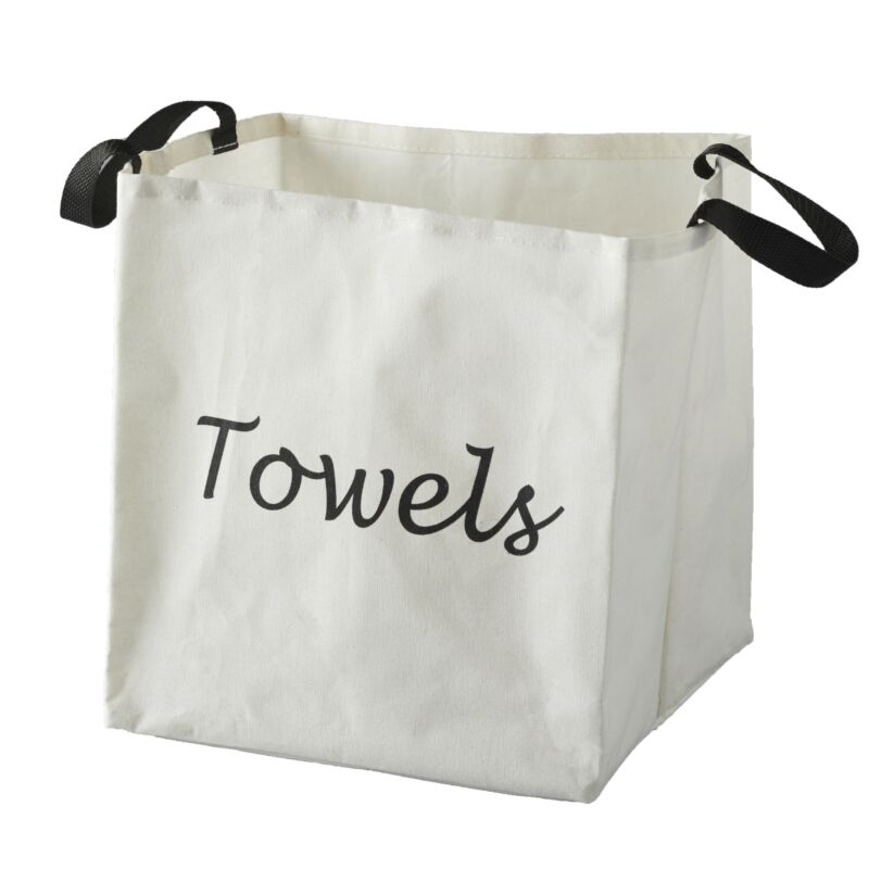 Canvas Storage Laundry Bag with Fabric Handles - White