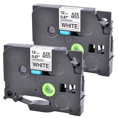 2pk Fits Brother P-touch Tz231 Tze231 Black Print On White Label Tape Pt-h100